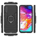 Cool Guard Ring Holder Kickstand PC TPU Hybrid Case for Samsung Galaxy A70 – Black