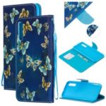 Pattern Printing Leather Wallet Case for Samsung Galaxy A70 – Blue Butterflies