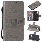 Imprinted Flower Owl Leather Wallet Case for Samsung Galaxy A40 – Grey
