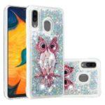 Dynamic Glitter Powder Sequins TPU Phone Case for Samsung Galaxy A30/A20 – Owl