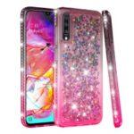 Rhinestone Decor Gradient Glitter Powder Quicksand TPU Shell for Samsung Galaxy A70 – Brown/Red