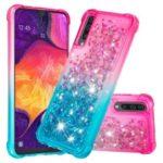 For Samsung Galaxy A50 Dynamic Glitter Powder Sequins Quicksand TPU Acrylic Hybrid Shell – Pink/Sky Blue