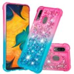 For Samsung Galaxy A30/A20 Dynamic Glitter Powder Sequins Quicksand TPU Acrylic Hybrid Case – Pink/Sky Blue