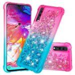For Samsung Galaxy A70 Dynamic Glitter Powder Sequins Quicksand TPU Acrylic Hybrid Shell – Pink/Sky Blue
