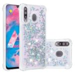 Liquid Glitter Powder Patterned Quicksand Shockproof TPU Phone Shell for Samsung Galaxy M30/A40s –  Silver Love Hearts