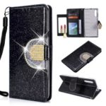 Glitter Powder Rhinestone Decoration Wallet Leather Case with Mirror for Samsung Galaxy A50 – Black