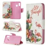 Pattern Printing Light Spot Decor Leather Wallet Case for Samsung Galaxy A20e – Flamingo