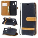 Jeans Cloth Leather Wallet Case for Samsung Galaxy A20e – Black