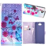 Laser Carving Pattern Printing Wallet Leather Case with Strap for Sony Xperia 10 – Flower and Butterfly