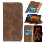 Retro Split Leather Wallet Stand Phone Cover for LG Stylo 5 – Coffee
