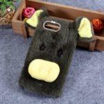Rhinestone Decor Fluffy Fur Coated TPU Case for Huawei Honor View 20 / V20 (China) – Army Green