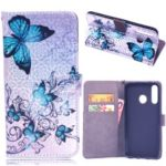 Laser Carving Pattern Printing Wallet Leather Case with Strap for Huawei P30 Lite / nova 4e – Blue Butterfly