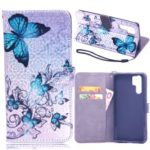 Laser Carving Pattern Printing Wallet Leather Stand Case with Strap for Huawei P30 Pro – Blue Butterfly