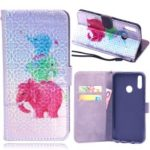 Laser Carving Pattern Printing Wallet Leather Case with Strap for Huawei P Smart (2019) / Nova Lite 3 (Japan) – Elephant