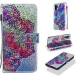 Pattern Printing Glitter Sequins Leather Wallet Case for Huawei P30 Pro – Mandala Flower