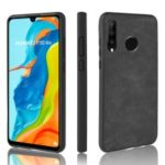 PU Leather Coated TPU Back Phone Casing for Huawei P30 Lite / nova 4e – Black