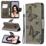 Imprint Butterfly PU Leather Wallet Flip Case with Strap for Huawei P30 Lite / nova 4e – Grey