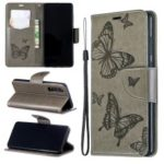 Imprint Butterfly PU Leather Wallet Flip Case with Strap for Huawei P30 – Grey