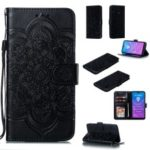 For Huawei Y7 (2019) Imprint Mandala Flower Leather Wallet Case Phone Cover – Black