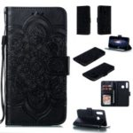 For Huawei P30 Lite / nova 4e Imprint Mandala Flower Phone Cover Case Leather Wallet – Black