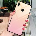 Gradient Color Glass + PC + TPU Hybrid Case for Huawei Y7 (2019) – Gold / Pink
