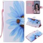 Pattern Printing Leather Wallet Case for Huawei P30 Lite / nova 4e – Blue Flower