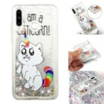 Embossment Pattern Quicksand TPU Back Phone Cover for Huawei P30 Lite / nova 4e – Cat Unicorn