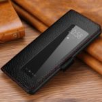 Smart View Window Litchi Texture Genuine Leather Stand Case Phone Cover for Huawei P30 Pro – Black