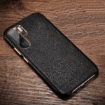 XOOMZ Litchi Texture Genuine Leather Skin Hard Phone Cover for Huawei P30 Pro – Black