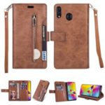 Multi-slot Wallet Zippered Leather Cover Stand Case for Huawei Y6 (2019, with Fingerprint Sensor) / Y6 Prime (2019) – Brown