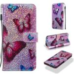 Pattern Printing Glitter Sequins Leather Wallet Case for Huawei P Smart (2019) / Nova Lite 3 / Honor 10 Lite – Butterfly