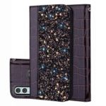 Crocodile Texture Glittery Sequins Splicing PU Leather Auto-absorbed Case for Huawei P Smart (2019) / Nova Lite 3 – Black