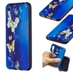 Embossment Patterned TPU Case Accessory for Huawei Y6 (2019, with Fingerprint Sensor) / Y6 Prime (2019) / Honor 8A – Blue Butterfly