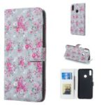 Pattern Printing [Light Spot Decor] Stand Wallet Leather Flip Cover for Huawei Y7 (2019) – Floral Pattern