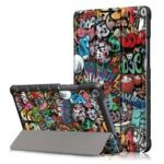 Pattern Printing PU Leather Tri-fold Stand Tablet Shell for Huawei MediaPad M5 Lite 8 – Cartoon Graffiti