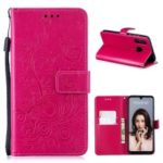 Imprint Butterfly Flower Leather Wallet Case for Huawei P30 Lite / nova 4e – Rose