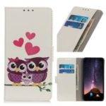 Pattern Printing Stand Leather Mobile Casing for Huawei Honor 20 Lite – Sweet Owl Family