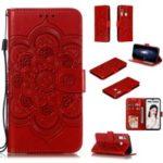 Imprint Mandala Flower Stand Wallet Leather Case for Huawei P Smart Plus 2019/Enjoy 9s/Honor 10i/Honor 20i/Honor 20 Lite/nova 4 Lite – Red