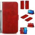PU Leather Stand Wallet Case for Huawei Y6 (2019, with Fingerprint Sensor) / Y6 Prime (2019) – Red