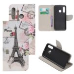 Pattern Printing Cross Texture Leather Wallet Case for Huawei P Smart Z – Eiffel Tower