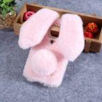 Bunny Design Rhinestone Furry TPU Mobile Casing for Motorola Moto G7 Play (EU Version) – Pink