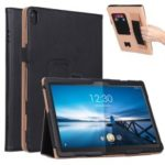 PU Leather Tablet Stand Case with Card Slots and Elastic Hand Strap for Lenovo Tab P10 – Black