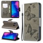 For Xiaomi Redmi Note 7 / Redmi Note 7 Pro (India) PU Leather Imprint Butterflies Phone Case – Grey