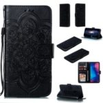 For Xiaomi Redmi Note 7/Note 7 Pro (India) Imprint Mandala Flower Leather Wallet Cover Phone Case – Black