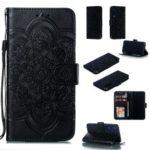 For Xiaomi Mi 9 SE Imprint Mandala Flower Phone Cover Wallet Leather Case – Black