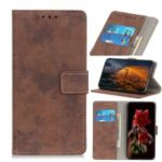 Vintage Style Leather Wallet Case for ALCATEL 1S (2019) – Coffee