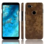 Litchi Texture PU Leather Coated PC Case for Google Pixel 3a – Brown