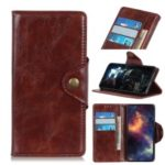 Textured PU Leather Wallet Stand Phone Case for Asus Zenfone 6 ZS630KL – Brown