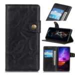S Shape Crazy Horse Leather Stand Wallet Phone Shell for OnePlus 7 – Black
