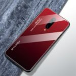 Anti-fingerprint Gradient Color Tempered Glass + PC + TPU Hybrid Case for OnePlus 7 Pro – Red / Black